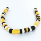 bone beads 6mm yellow black brown white