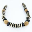 bone beads 6mm grey brown white