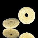 Handmade round flat disc bead of bone 35mm naturel
