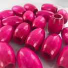 Wood beads oval pink 32mm with large hole