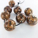 Ceramic beads round 25mm brown zwart with flowers