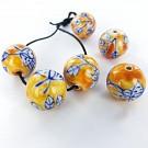 Ceramic beads round 20mm orange with flowers