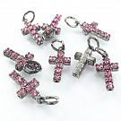 crystal rhinestone pendants cross light pink