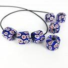 Millefiori beads cilinder 11mm multi colour