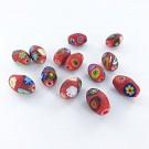 Millefiori beads oval matt 13mm multi colour