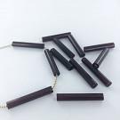 Glass beads bugle beads 25mm dark brown