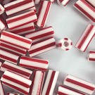 bugle glass beads 10mm red white